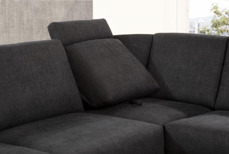 ADA BRÜSSEL ülőgarnitúra L alakú FEKETE SZÍNBEN dönthető