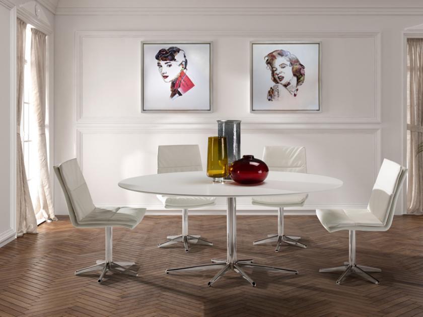 ATLANTA ovális étkezőasztal fehér színben