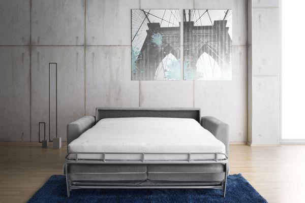Bella ággyá nyitható kanapé nyitott állapotban ágyként