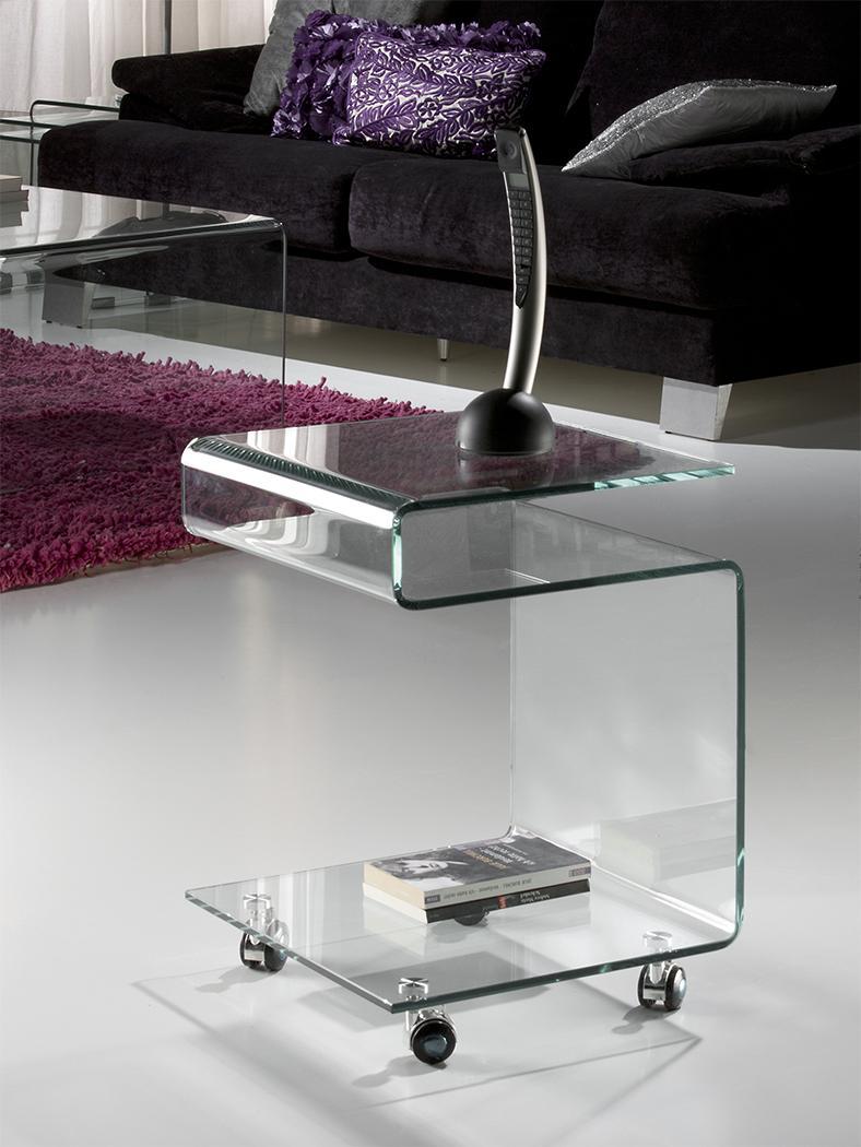 """GLASS """"S"""" alakban hajlított üvegasztal kecses formákkal"""