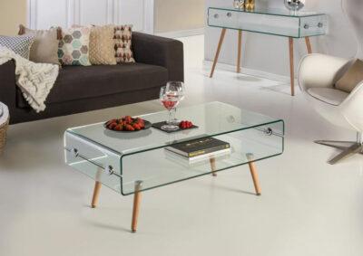 GLASS II négylábú (bükk) üvegasztal