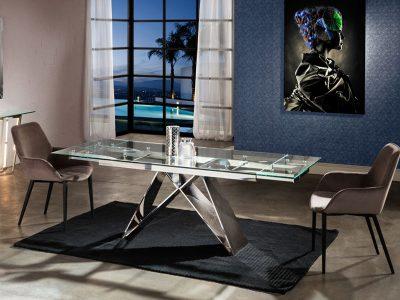 Mika bővíthető üveg étkezőasztal és Aloha karszék