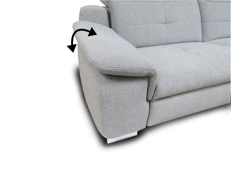 A Milano ülőgarnitúra G karfa: széles, állítható változat lábbal.