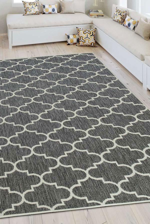 A Lalee Home SUNSET SUS 604 szürke szőnyeg marokkói mintával egy beltéri és kültéri használatra is alkalmas modern szőnyeg.